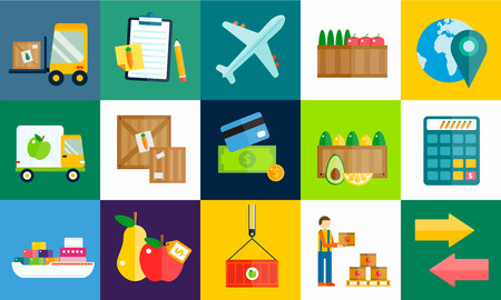 export import: Import export fruits and vegetables delivery vector icons set. Vector flat icons infographic. Colorful modern design flat icons, import export symbols, delivery, shipping,  plain, fruits logistics. Delivery vector icons Illustration