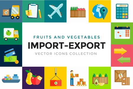 export: Import export fruits and vegetables delivery vector icons set. Vector flat icons infographic. Colorful modern design flat icons, import export symbols, delivery, shipping,  plain, fruits logistics. Delivery vector icons Illustration
