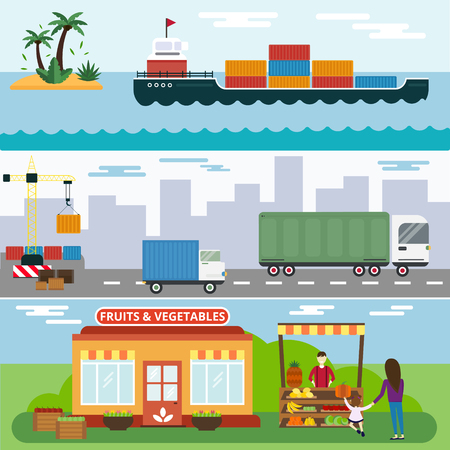ship parcel: Import export fruits and vegetables delivery vector icons set. Vector flat icons infographic. Colorful modern design flat icons, import export symbols, delivery, shipping,  plain, fruits logistics. Delivery vector icons Illustration