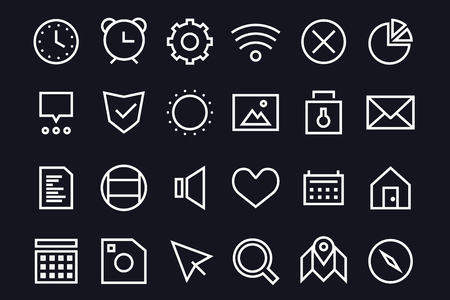 user interface: Outline vector UI user interface technology black and white icons set. Web net vector ui hud gui user interface icons for web and mobile app. Application, web interface, GUI interface, UI interface, HUD web interface icons