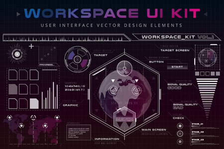 elements web: UI hud infographic interface web elements. Futuristic space thin HUD user interface. Web UI interface elements, UI elements, UI design, UI vector icons. Game target navigation interface hud ui design Illustration