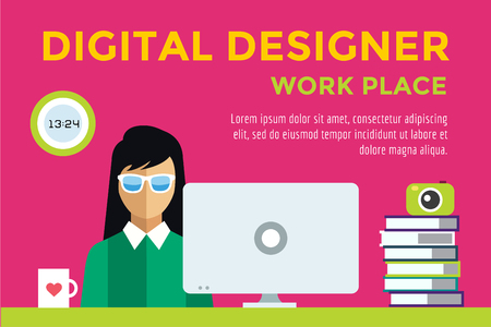 Designer at workplace vector silhouette. Designer girl work infographic. People at work. Creative office life. People in action. Computer, table, books, clock, coffee cup. Digital designer silhouette