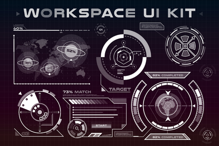 interface design: UI hud infographic interface web elements. Futuristic space thin HUD user interface. Web UI interface elements, UI elements, UI design, UI vector icons. Game target navigation interface hud ui design Illustration