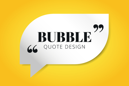 Quote blank template. Quote bubble. Empty template. Quote design, quoting box, text sign reference, paper information template. Quote form. Bubble template set. Yellow quote blank icon isolated