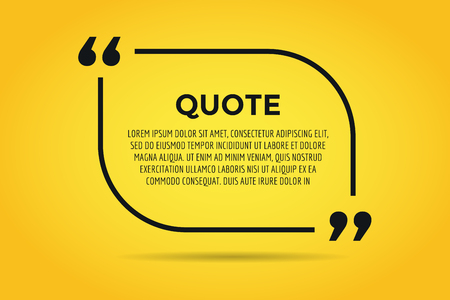 reference: Quote blank template. Quote bubble. Empty template. Quote design, quoting box, text sign reference, paper information template. Quote form. Bubble template set. Yellow quote blank icon isolated