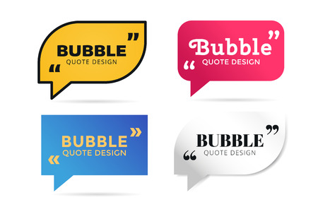 bubble talk: Quote blank template. Quote bubble. Empty template. Quote design, quoting box, text sign reference, paper information template. Quote form. Bubble template vector set. White quote blank icon isolated