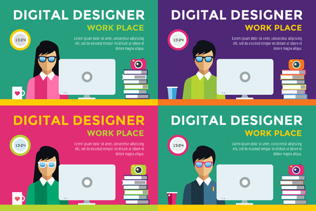 web designer: Designer at workplace vector silhouette. Designer girl work infographic. People at work. Creative office life. People in action. Computer, table, books, clock, coffee cup. Digital designer silhouette