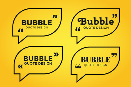 citing: Quote blank template. Quote bubble. Empty template. Quote design, quoting box, text sign reference, paper information template. Quote form. Bubble template set. Yellow quote blank icon isolated