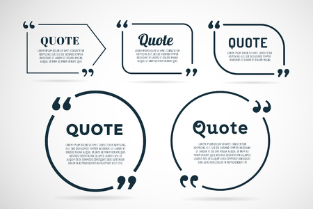 reference: Quote blank template. Quote bubble. Empty template. Quote design, quoting box, text sign reference, paper information template. Quote form. Bubble template vector set. White quote blank icon isolated