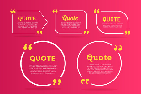 bubble background: Quote blank template. Quote bubble. Empty template. Quote design, quoting box, text sign reference, paper information template. Quote form. Bubble template vector set. Red quote blank icon isolated