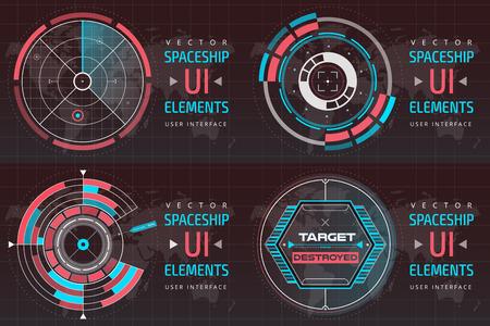 UI hud インフォ グラフィック インターフェイス画面監視レーダーは、web の要素を設定します。未来の宇宙船薄い HUD のユーザー インターフェイス。W  イラスト・ベクター素材