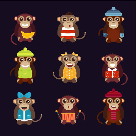 mono caricatura: Vector de dibujos animados feliz navidad juguetes mono bailando fondo fiesta de cumpleaños. Mono de baile de cumpleaños. Juguetes mono Feliz Navidad, vector mono, plátano, salto, sonrisa, juego del mono. Vector animales mono de la historieta estilo plano Vectores