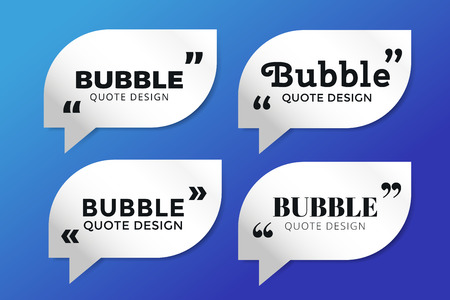 mention: Quote blank template. Quote bubble. Empty template. Quote design, quoting box, text sign reference, paper information template. Quote form. Bubble template vector set. White quote blank icon isolated