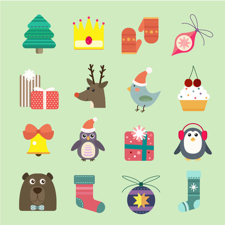 decor: Christmas vector icons set. Christmas tree, Christmas ball, Christmas letter, Christmas birds, Christmas cake. Christmas Gift, socks, ball, snowflake, Christmas Decoration symbols. 2016 New Year icons