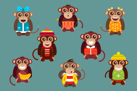 brown banana: Happy cartoon vector christmas monkey toys dancing party birthday background. Monkey party birthday dance. Merry christmas monkey toys, monkey vector, banana, jump, smile, monkey play. Vector monkey animals cartoon flat style