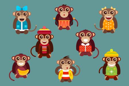 celebration cartoon: Happy cartoon vector christmas monkey toys dancing party birthday background. Monkey party birthday dance. Merry christmas monkey toys, monkey vector, banana, jump, smile, monkey play. Vector monkey animals cartoon flat style