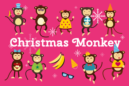 DAnce background: Happy cartoon vector christmas monkey toys dancing party birthday background. Monkey party birthday dance. Merry christmas monkey toys, monkey vector, banana, jump, smile, monkey play. Vector monkey animals cartoon flat style