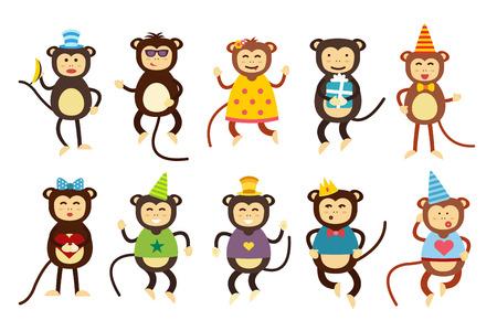 monos: Vector de dibujos animados feliz navidad juguetes mono bailando fondo fiesta de cumplea�os. Mono de baile de cumplea�os. Juguetes mono Feliz Navidad, vector mono, pl�tano, salto, sonrisa, juego del mono. Vector animales mono de la historieta estilo plano Vectores