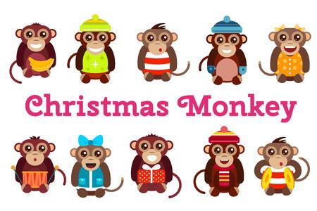 Happy cartoon vector christmas monkey toys dancing party birthday background. Monkey party birthday dance. Merry christmas monkey toys, monkey vector, banana, jump, smile, monkey play. Vector monkey animals cartoon flat style