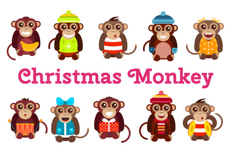 cartoon present: Happy cartoon vector christmas monkey toys dancing party birthday background. Monkey party birthday dance. Merry christmas monkey toys, monkey vector, banana, jump, smile, monkey play. Vector monkey animals cartoon flat style