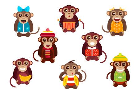 platano caricatura: Vector de dibujos animados feliz navidad juguetes mono bailando fondo fiesta de cumpleaños. Mono de baile de cumpleaños. Juguetes mono Feliz Navidad, vector mono, plátano, salto, sonrisa, juego del mono. Vector animales mono de la historieta estilo plano Vectores