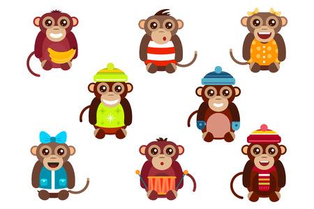 Vector de dibujos animados feliz navidad juguetes mono bailando fondo fiesta de cumpleaños. Mono de baile de cumpleaños. Juguetes mono Feliz Navidad, vector mono, plátano, salto, sonrisa, juego del mono. Vector animales mono de la historieta estilo plano Foto de archivo - 45855050
