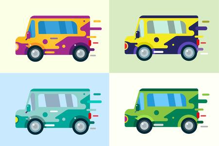 car: Vector cartoon icona di auto. Auto carino semplice piatto stile. Colorful elemento auto vettore. Unità veloce auto vettore colorato. Trasporto auto. Car isolated isolato. Automobile. Cartoon car stile vettoriale. Icona Car isolated