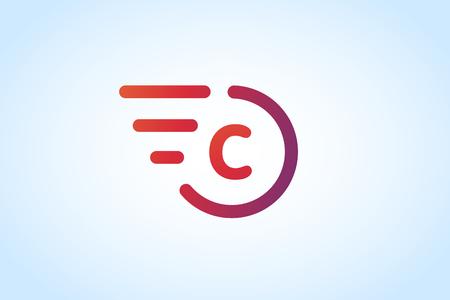 symbol sport: Schnelle Linie C letter icon Monogramm. C und Linien Monogramm. Vector c Linie Brief. C Brieftransport-Symbol. Abstrakt C Brief. Bewegungslinien C-Linie-Symbol. D�nne Linie Stil. Transport Liefer C Bewegung Auto-Symbol