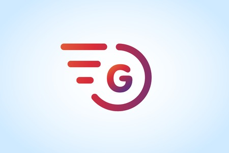 letter g: Fast line G letter icon monogram. G and lines monogram. Vector G line letter. G letter design. Abstract g letter. Motion lines g line symbol. Thin line style. Transport delivery G motion icon