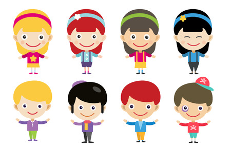 black family smiling: Vector cute cartoon boys and girls together. Children vector people. Vector kids different costumes. Kids characters countries of the world in national costumes. Vector kids, children, kids international friendship