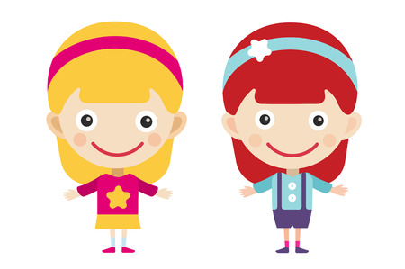 friends together: Redhead and blonde cartoon vector girls in different costumes. Girls characters countries of the world, dress girls in national costumes. Vector cartoon girls. Kid girls isolated. Children vector people. Vector kids, teens, girls silhouette