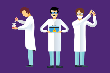 biologist: Science laboratory vector people set. People in laboratory isolated silhouette. Chemist, Medical Doctor, Scientist laboratory, science, research, biologist, lab, test, flask icons vector illustration
