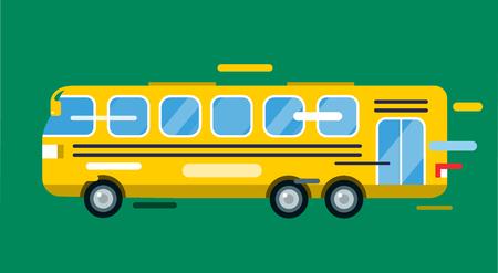 passenger buses: Autobús urbano estilo de dibujos animados del vector. Bus icono silueta. Bus silueta del vector de la historieta. Transporte urbano rápido móvil autobús. Bus de movimiento rápido. Ilustración amarilla del autobús de vectores. Aislado objeto de bus vectorial