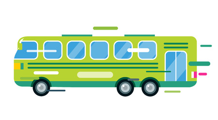 tourists stop: City bus cartoon style vector. Bus icon silhouette. Bus vector cartoon silhouette. Bus mobile fast city transport. Bus fast moving. Green bus vector illustration. Vector bus object isolated Illustration