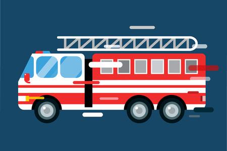 voiture de pompiers: Voiture de camion de feu isol�. Camion de pompier silhouette vector cartoon. Camion de pompier de service d'urgence rapide mobile. Camion de pompiers en mouvement rapide. Vecteur d'incendie d'un camion illustration. Vecteur de sauvetage camion de pompiers Illustration