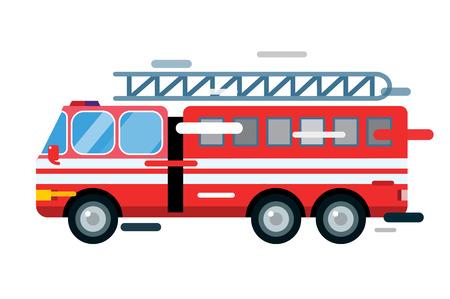 Voiture de camion de feu isolé. Camion de pompier silhouette vector cartoon. Camion de pompier de service d'urgence rapide mobile. Camion de pompiers en mouvement rapide. Vecteur d'incendie d'un camion illustration. Vecteur de sauvetage camion de pompiers