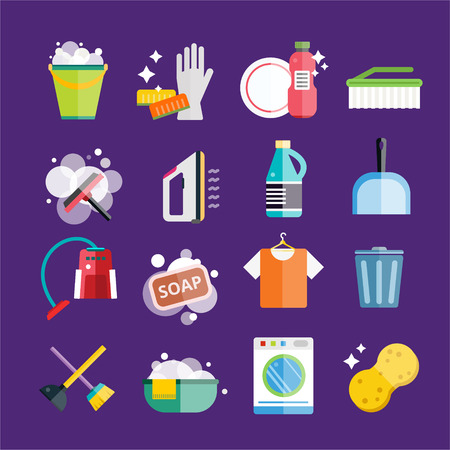 Cleaning icons vector set. Icons of clean service and cleaning tools. Housework cleaning icons vector set. Home clean, sponge icon, broom icon, bucket icon, mop icon, cleaning brush vector icon Imagens - 45856078