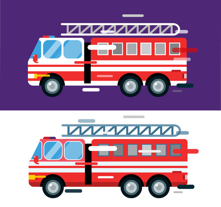 camion: Aislado autom�vil cami�n de bomberos. Coche de bomberos silueta de la historieta del vector. Coche de bomberos del servicio de emergencia m�vil r�pido. Coche de bomberos de movimiento r�pido. Fuego ilustraci�n vectorial de camiones. Vector fuego rescate cami�n