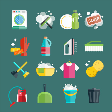 sponges: Cleaning icons vector set. Icons of clean service and cleaning tools. Housework cleaning icons vector set. Home clean, sponge icon, broom icon, bucket icon, mop icon, cleaning brush vector icon
