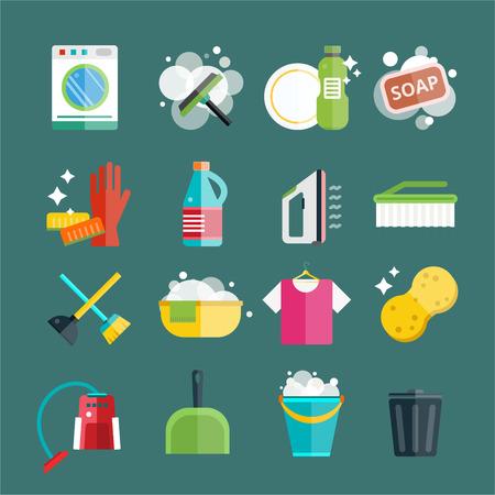 Reinigen van iconen vector set. Iconen van schone service en schoonmaken van gereedschappen. Huishouden reiniging iconen vector set. Huis schoon, spons pictogram, bezem pictogram, emmer pictogram, mop pictogram, borstel vector icon Stockfoto - 45856080