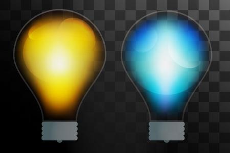 lampada: Lampadina trasparente isolato. Glowing lampada di vetro con il colore brillare. Vettore Lamp, lampada silhouette, lampada isolato, lampada vettore lampadina, icona della lampada. Idea creativa, concetto, brainstorming