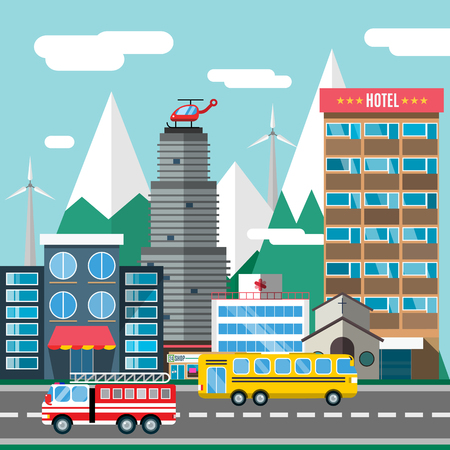 Buildings and city transport flat style illustration. Flat design city downtown background. Roads and city buildings, sky and mountains. Architecture small town market, hospital, church, shop, bus, fire truck, helicopter
