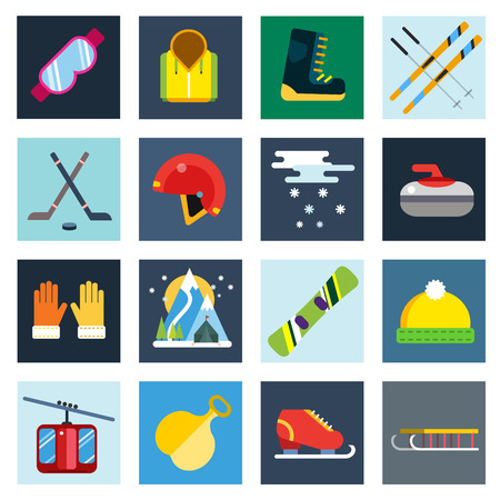winter clothes: Winter sport vector icons set. Winter sport games icons pictograms. Winter sports icons flat design. Winter games sport icons isolated. Ski, sport, extreme sports, winter games, sport icons, snowboarding, winter clothes