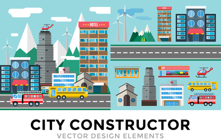 cartoon bank: Buildings and city transport flat style illustration. Flat design city downtown background. Roads and city buildings, sky and mountains. Architecture small town market, hospital, church, shop, bus, fire truck, helicopter