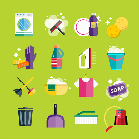 Cleaning icons vector set. Icons of clean service and cleaning tools. Housework cleaning icons vector set. Home clean, sponge icon, broom icon, bucket icon, mop icon, cleaning brush vector icon