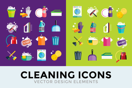 Reinigen van iconen vector set. Iconen van schone service en schoonmaken van gereedschappen. Huishouden reiniging iconen vector set. Huis schoon, spons pictogram, bezem pictogram, emmer pictogram, mop pictogram, borstel vector icon Stock Illustratie