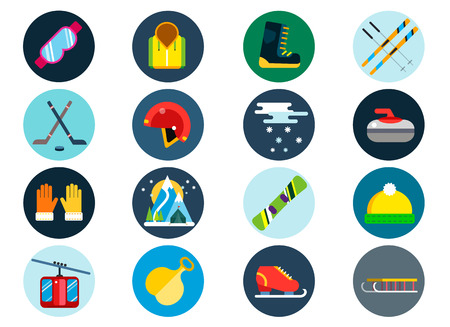 sport: Winter sport vector icons set. Winter sport games icons pictograms. Winter sports icons flat design. Winter games sport icons isolated. Ski, sport, extreme sports, winter games, sport icons, snowboarding, winter clothes