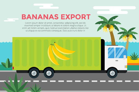 commercial van: Banana delivery truck.  Illustration