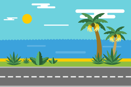Beautiful colorful summer seascape illustration. Pulm and sea beach. Winter vcation time. Grass, pulm tree, sand, sky, bananas, green landscape background. Summer view, road, palms and bananas. Exotic nature Иллюстрация