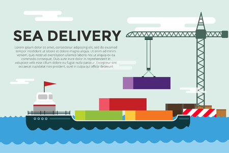 ship sign: Vector transportation concept illustration.